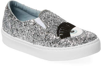 Chiara Ferragni Eye Detail Glitter Slip-On Sneaker