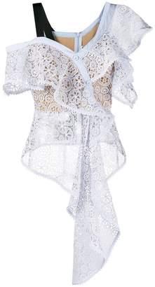Self-Portrait sheer lace blouse