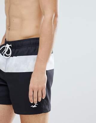 Hollister Core Guard Mid Stripe Print Swim Shorts Seagull Logo in Black