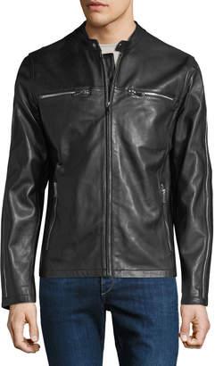 Karl Lagerfeld Paris Men's Racer Leather Zipper-Trim Bomber Jacket