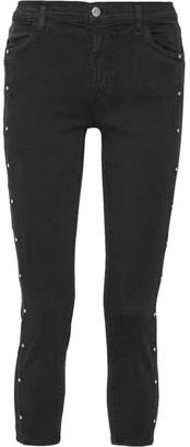 J Brand - Alba Studded Cropped Mid-rise Skinny Jeans - Black $230 thestylecure.com