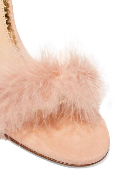 Charlotte Olympia Salsa Feather-trimmed Suede Sandals - Blush