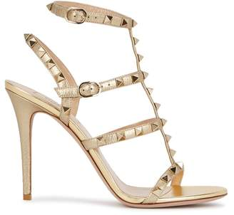 Valentino Rockstud 100 Gold Leather Sandals