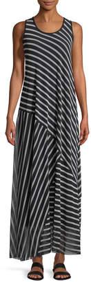 Fuzzi Striped Patch Sleeveless Maxi Dress