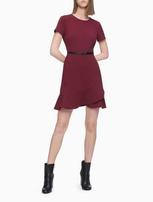 Calvin Klein Ruffle Hem Short Sleeve A-Line Dress