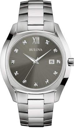 Bulova Men's Diamond Accent Stainless Steel Bracelet Watch 43mm 96D122