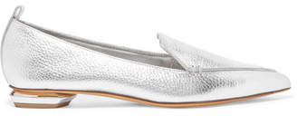 Nicholas Kirkwood Beya Metallic Textured-leather Point-toe Flats - Silver