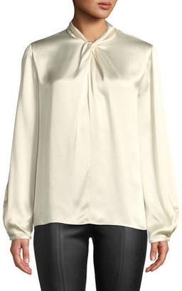 Vince Knotted High-Neck Log-Sleeve Silk Blouse