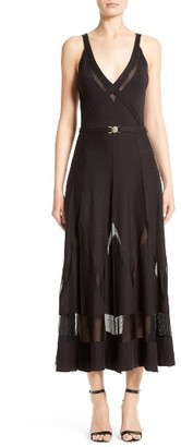 Women's Versace Collection Sheer Inset Knit Midi Dress $875 thestylecure.com