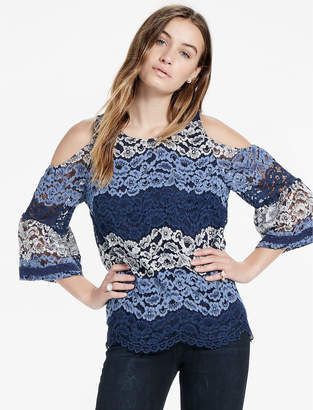 Lucky Brand LACE COLD SHOULDER TOP