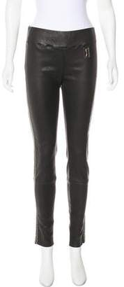 Thomas Wylde Leather Mid-Rise Pants