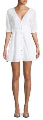 Maison Button-Front Eyelet Dress
