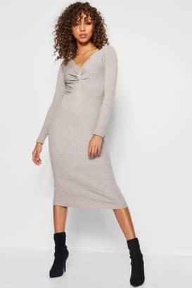 boohoo Rib Knit Twist Front Midi Dress