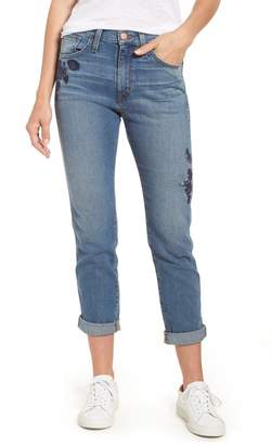 Caslon Arden High Waist Embroidered Boyfriend Jeans (Regular & Petite)