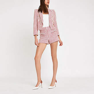 River Island Womens Red stripe button shorts