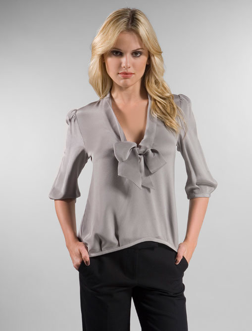 Mason by Michelle Mason Neck Tie Blouse in Grey