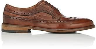 Barneys New York Men's Washed Leather Wingtip Bluchers - Brown