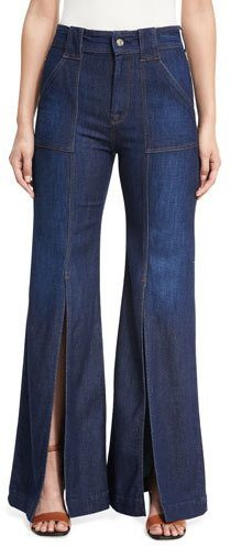 7 For All Mankind7 For All Mankind Palazzo Slit-Front High-Waist Denim Pants, Blue
