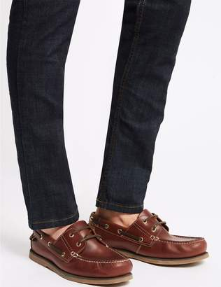 Marks and Spencer Extra Wide Fit Leather Boat Shoes
