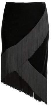 Nanette Lepore Jordan Asymmetrical Fringe Skirt