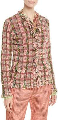 Etro Fringe-Trim Checkered-Tweed Jacket