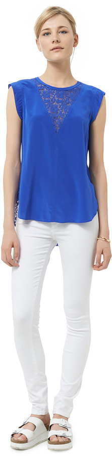 Rebecca Taylor Short Sleeve Top With Lace