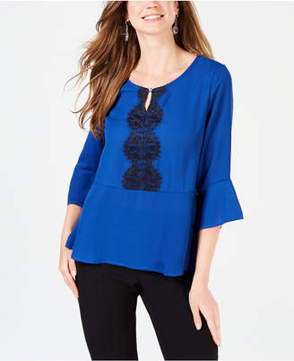 NY Collection Petite Lace-Bib Bell-Sleeve Top