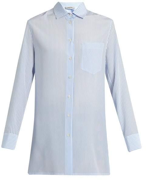 Valentino Cowl-back striped silk shirt