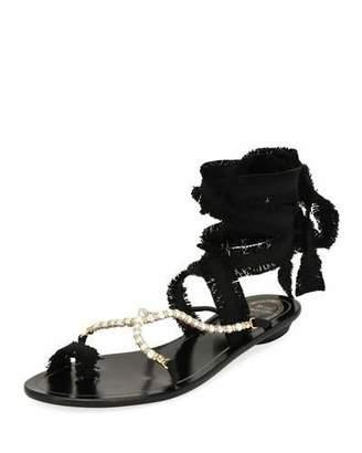 Rene Caovilla Pearlescent Ribbon Flat Sandal