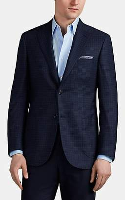 Brioni Men's Ravello Checked Worsted Wool-Silk Two-Button Sportcoat - Navy