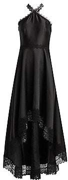 ML Monique Lhuillier Women's Satin & Lace Halter High-Low Gown