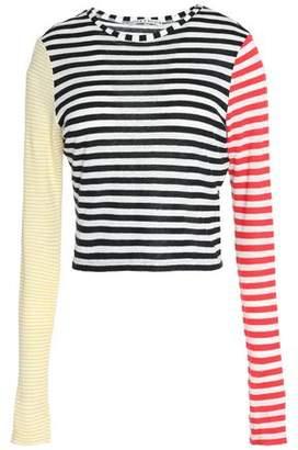 Alice+olivia Woman Striped Slub Linen-blend Jersey Top White Size M Alice & Olivia Outlet Store Locations X6Txijm1jF