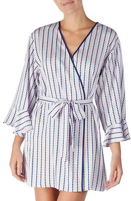 Kate Spade Striped Heart Charmeuse Short Robe