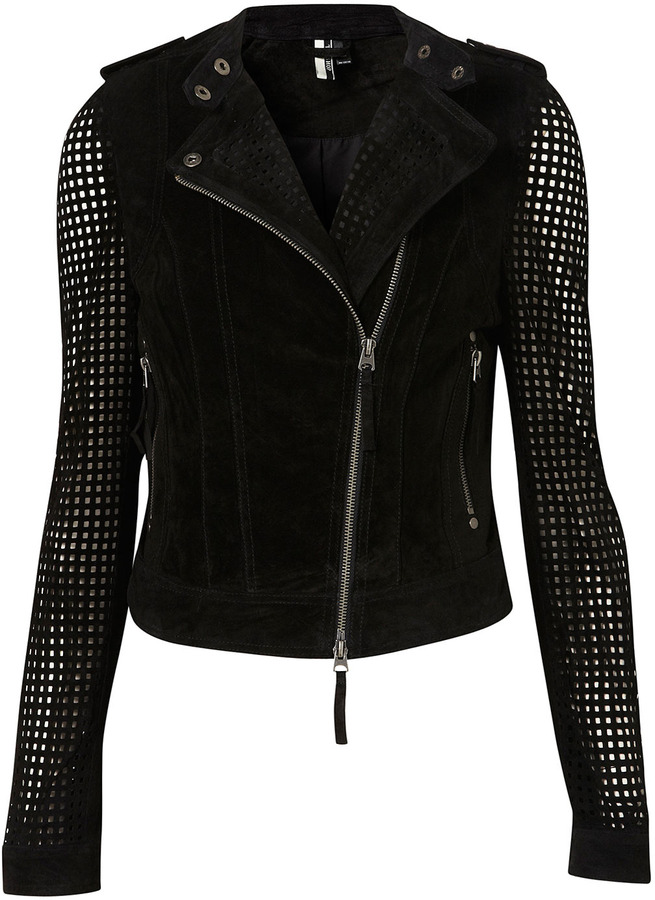 Suede Perforated Biker Jacket