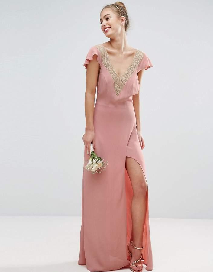 AsosASOS WEDDING Lace Applique Delicate Strap Maxi Dress