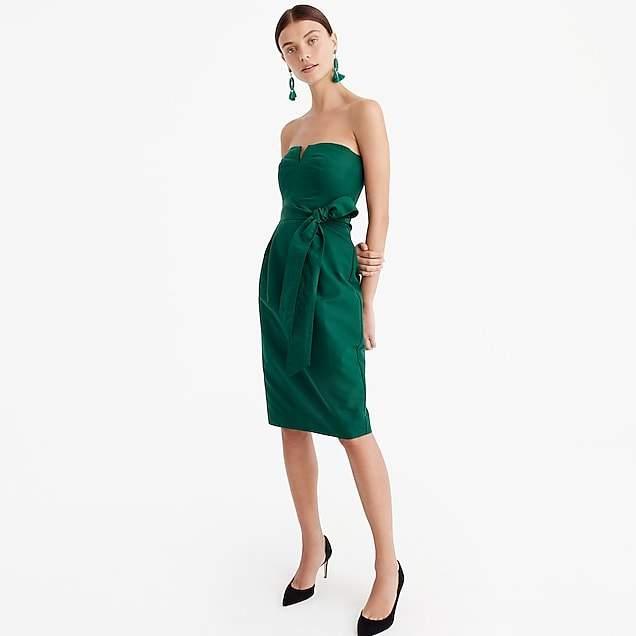 Tie-waist strapless dress in faille