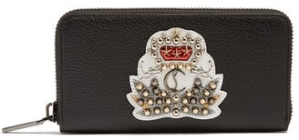 Christian Louboutin Panettone Crest Embellished Leather Wallet - Mens - Black