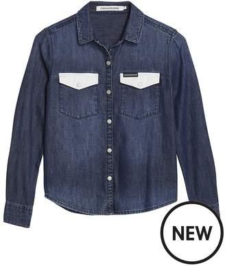 Calvin Klein Jeans Girls Contrast Pocket Long Sleeve Denim Shirt - Dark Blue