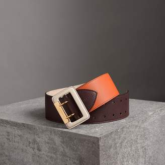 Burberry Colour Block Grainy Leather Belt