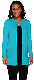 Joan Rivers Classics Collection Joan Rivers Jersey Knit Lightweigt Cardigan w/Sequin Pockets