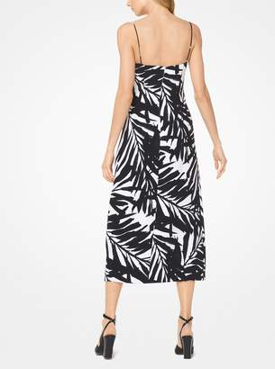 Michael Kors Palm Crepe-Cady Slip Dress