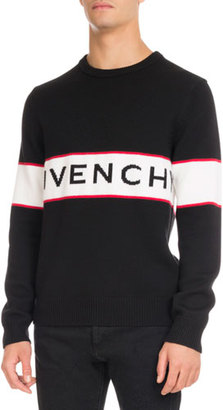 Givenchy Logo-Stripe Wool Sweater, Black $895 thestylecure.com