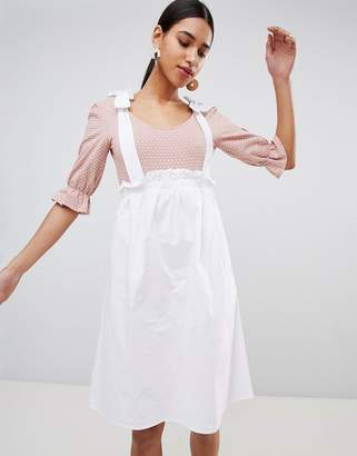 Fashion Union Scoop Neck Body With Balloon Sleeves In Fine Spot