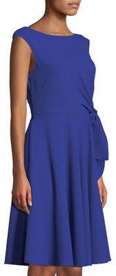 Tahari ASL Bow-Front Sleeveless Crepe Dress