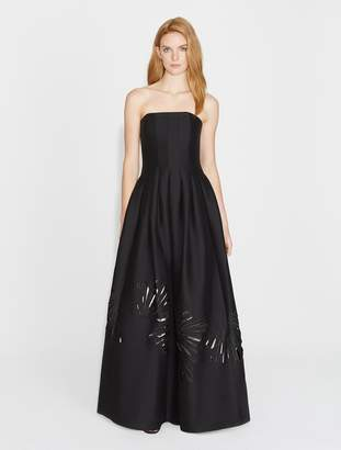 Halston Strapless Silk Faille Gown with Embroidery