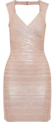 Herve Leger Iman Open-Back Metallic Bandage Mini Dress