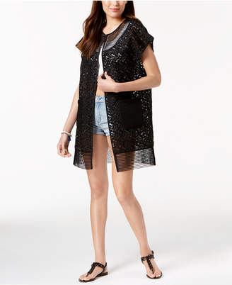 Steve Madden Out-Of-Town Mesh Kimono & Cover-Up