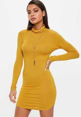 Missguided Mustard Long Sleeve Curve Hem Turtle Neck Bodycon Dress