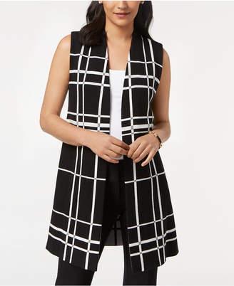 Alfani Petite Plaid Open-Front Vest, Created for Macy's