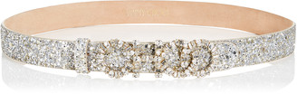 Jimmy Choo NICE Champagne Coarse Glitter Fabric Belt with Mixed Crystal Logo